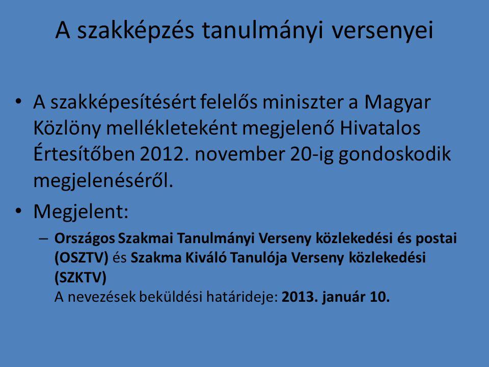 A szakképzés tanulmányi versenyei A szakképesítésért felelős miniszter a Magyar Közlöny mellékleteként megjelenő Hivatalos Értesítőben 2012. november