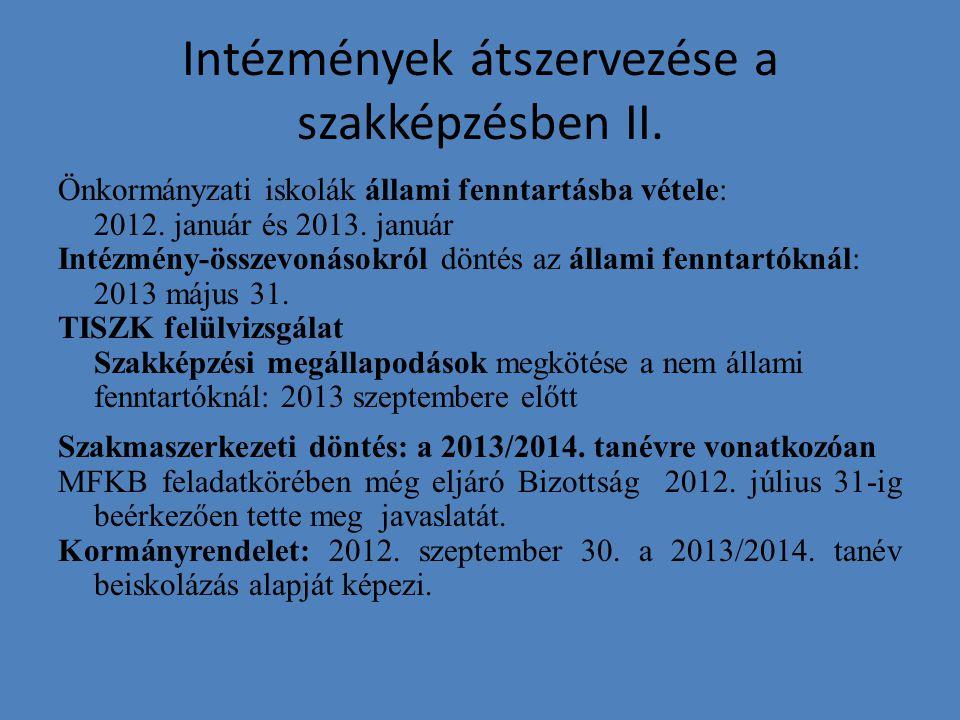 Intézmények átszervezése a szakképzésben II. Önkormányzati iskolák állami fenntartásba vétele: 2012. január és 2013. január Intézmény-összevonásokról