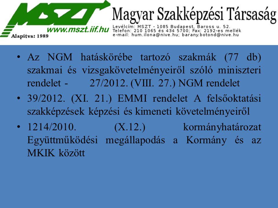 Az NGM hatáskörébe tartozó szakmák (77 db) szakmai és vizsgakövetelményeiről szóló miniszteri rendelet - 27/2012. (VIII. 27.) NGM rendelet 39/2012. (X