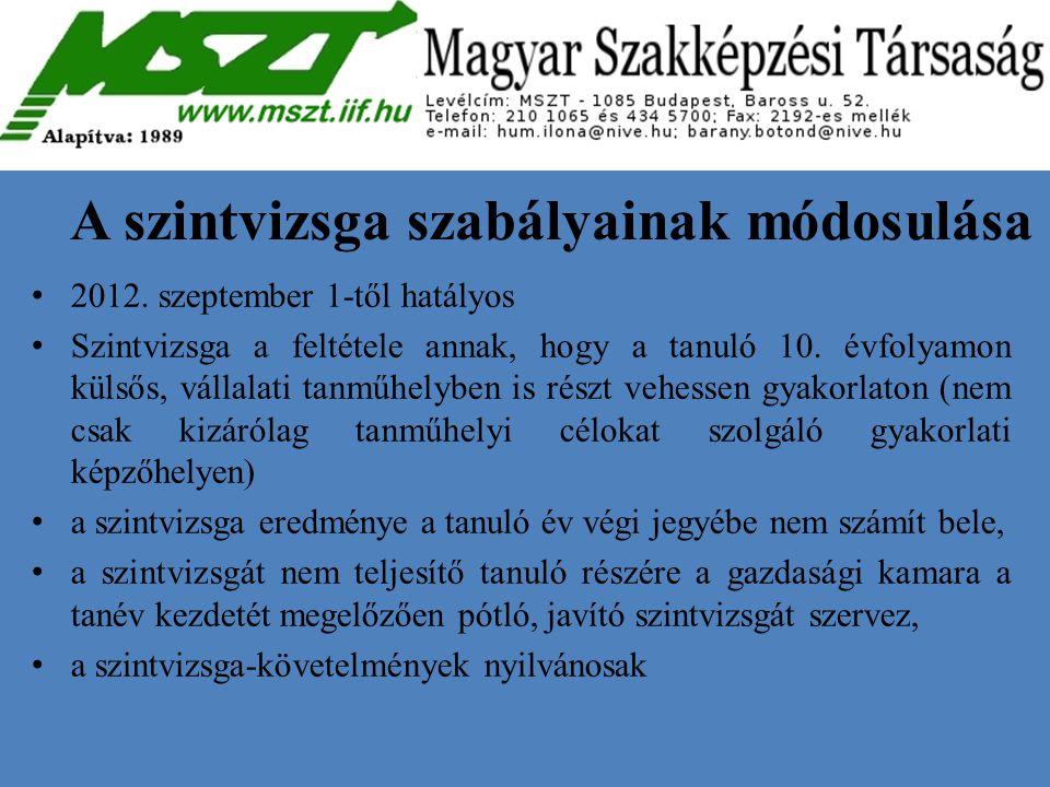 A szintvizsga szabályainak módosulása 2012. szeptember 1-től hatályos Szintvizsga a feltétele annak, hogy a tanuló 10. évfolyamon külsős, vállalati ta