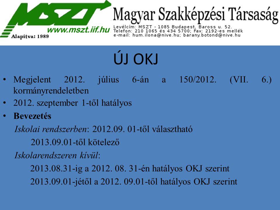 ÚJ OKJ Megjelent 2012. július 6-án a 150/2012. (VII. 6.) kormányrendeletben 2012. szeptember 1-től hatályos Bevezetés Iskolai rendszerben: 2012.09. 01
