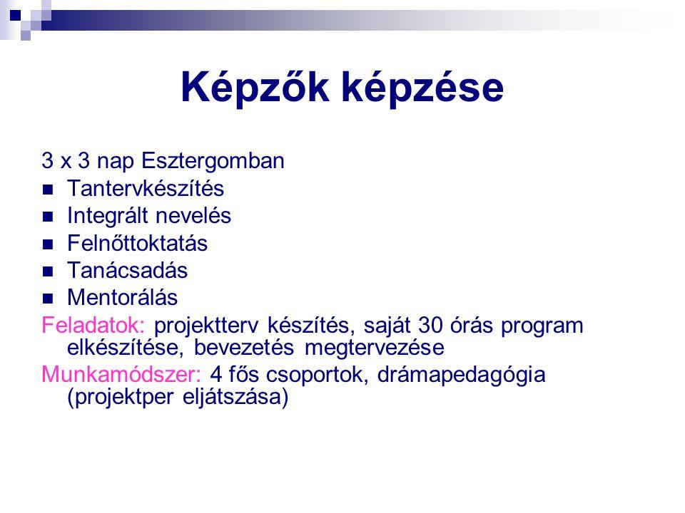 Képzők képzése 3 x 3 nap Esztergomban Tantervkészítés Integrált nevelés Felnőttoktatás Tanácsadás Mentorálás Feladatok: projektterv készítés, saját 30