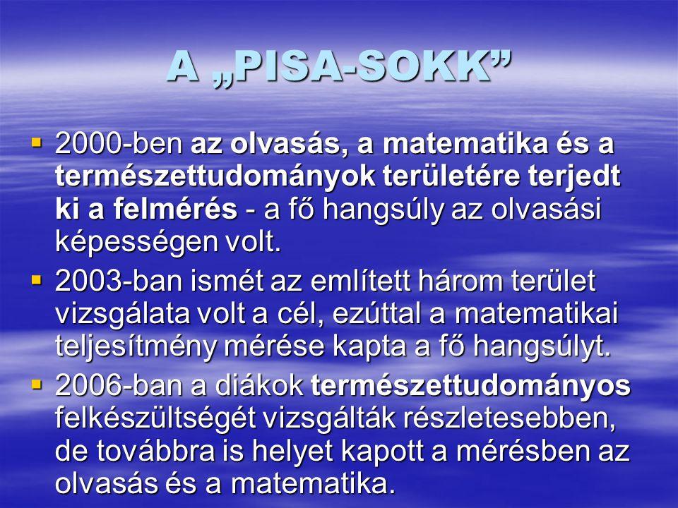 """A """"PISA-SOKK  2000-ben az olvasás, a matematika és a természettudományok területére terjedt ki a felmérés - a fő hangsúly az olvasási képességen volt."""