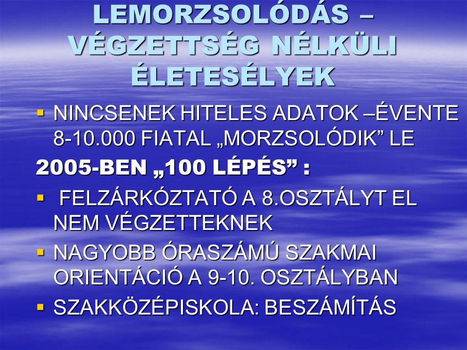 """LEMORZSOLÓDÁS – VÉGZETTSÉG NÉLKÜLI ÉLETESÉLYEK  NINCSENEK HITELES ADATOK –ÉVENTE 8-10.000 FIATAL """"MORZSOLÓDIK LE 2005-BEN """"100 LÉPÉS :  FELZÁRKÓZTATÓ A 8.OSZTÁLYT EL NEM VÉGZETTEKNEK  NAGYOBB ÓRASZÁMÚ SZAKMAI ORIENTÁCIÓ A 9-10."""