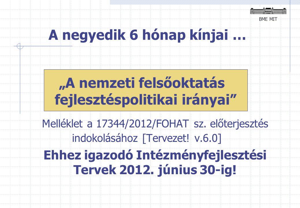 """A negyedik 6 hónap kínjai … """"A nemzeti felsőoktatás fejlesztéspolitikai irányai Melléklet a 17344/2012/FOHAT sz."""