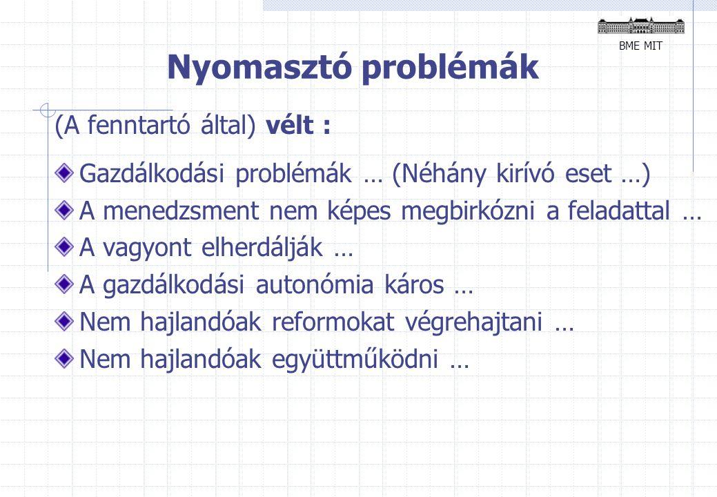Nyomasztó problémák (A fenntartó által) vélt : Gazdálkodási problémák … (Néhány kirívó eset …) A menedzsment nem képes megbirkózni a feladattal … A vagyont elherdálják … A gazdálkodási autonómia káros … Nem hajlandóak reformokat végrehajtani … Nem hajlandóak együttműködni … BME MIT