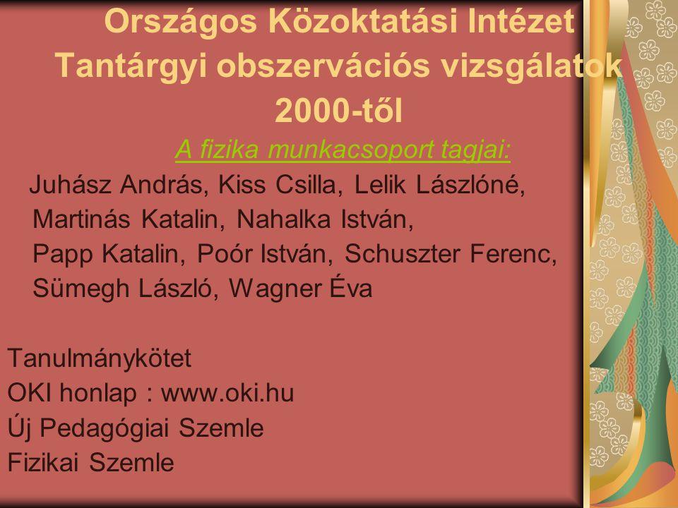 Országos Közoktatási Intézet Tantárgyi obszervációs vizsgálatok 2000-től A fizika munkacsoport tagjai: Juhász András, Kiss Csilla, Lelik Lászlóné, Mar