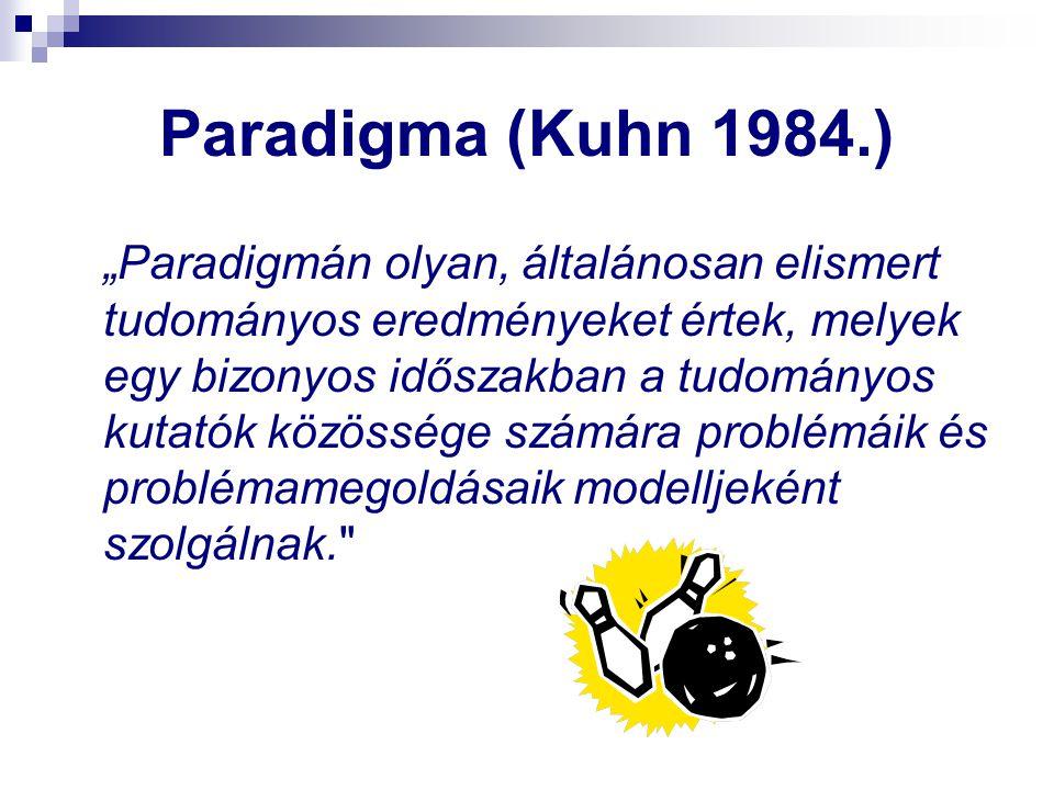 """Paradigma (Kuhn 1984.) """"Paradigmán olyan, általánosan elismert tudományos eredményeket értek, melyek egy bizonyos időszakban a tudományos kutatók közö"""