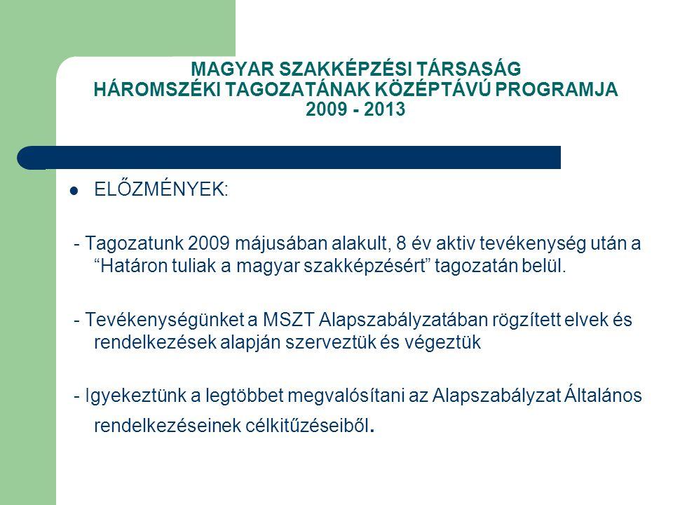 MAGYAR SZAKKÉPZÉSI TÁRSASÁG HÁROMSZÉKI TAGOZATÁNAK KÖZÉPTÁVÚ PROGRAMJA 2009 - 2013 ELŐZMÉNYEK: - Tagozatunk 2009 májusában alakult, 8 év aktiv tevékenység után a Határon tuliak a magyar szakképzésért tagozatán belül.
