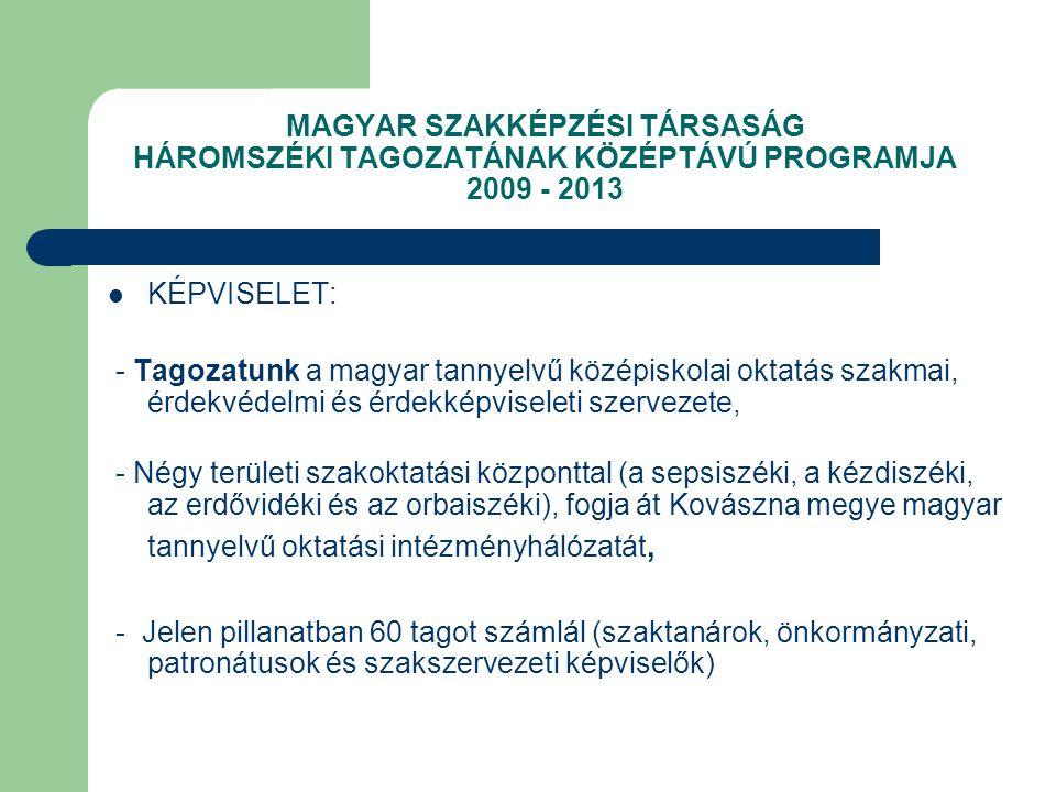 MAGYAR SZAKKÉPZÉSI TÁRSASÁG HÁROMSZÉKI TAGOZATÁNAK KÖZÉPTÁVÚ PROGRAMJA 2009 - 2013 KÉPVISELET: - Tagozatunk a magyar tannyelvű középiskolai oktatás szakmai, érdekvédelmi és érdekképviseleti szervezete, - Négy területi szakoktatási központtal (a sepsiszéki, a kézdiszéki, az erdővidéki és az orbaiszéki), fogja át Kovászna megye magyar tannyelvű oktatási intézményhálózatát, - Jelen pillanatban 60 tagot számlál (szaktanárok, önkormányzati, patronátusok és szakszervezeti képviselők)