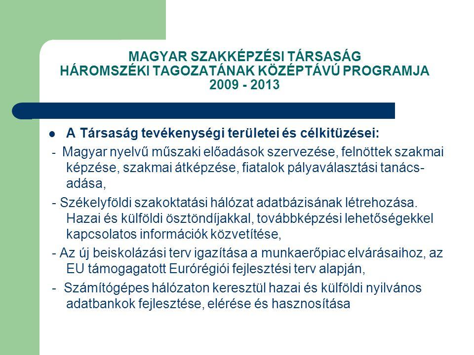 MAGYAR SZAKKÉPZÉSI TÁRSASÁG HÁROMSZÉKI TAGOZATÁNAK KÖZÉPTÁVÚ PROGRAMJA 2009 - 2013 A Társaság tevékenységi területei és célkitüzései: - Magyar nyelvű műszaki előadások szervezése, felnöttek szakmai képzése, szakmai átképzése, fiatalok pályaválasztási tanács- adása, - Székelyföldi szakoktatási hálózat adatbázisának létrehozása.