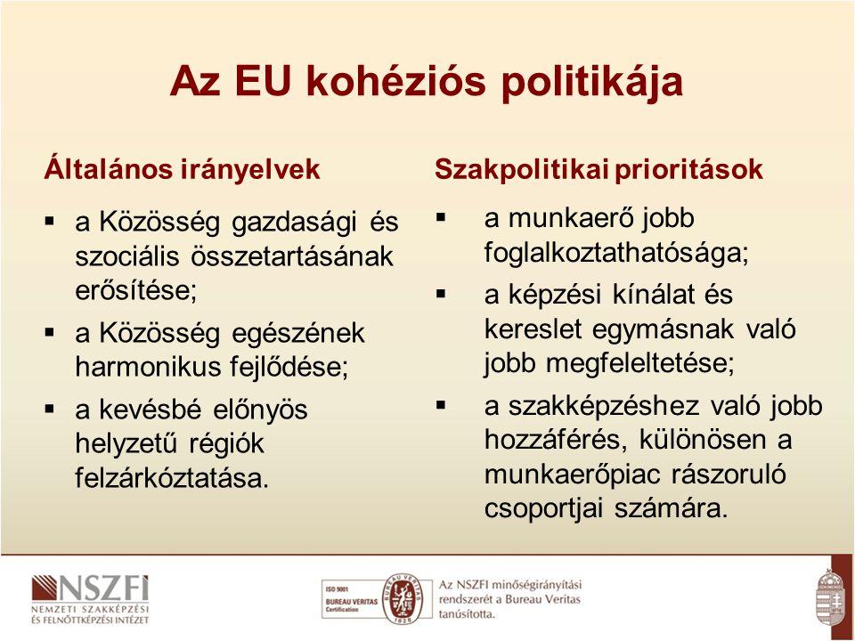 Az EU kohéziós politikája Általános irányelvek  a Közösség gazdasági és szociális összetartásának erősítése;  a Közösség egészének harmonikus fejlőd