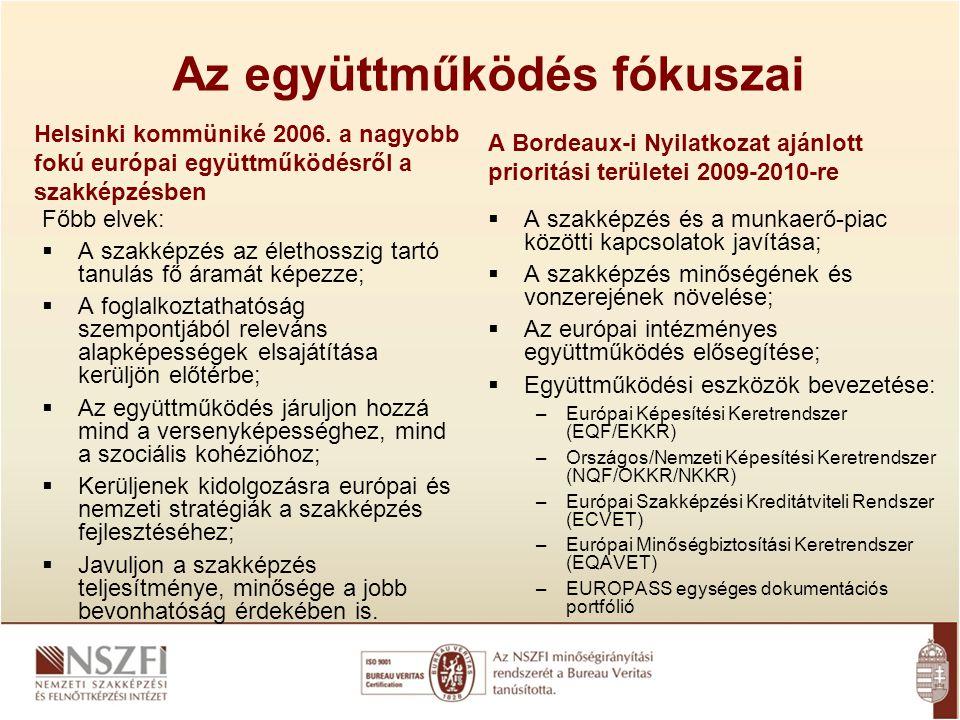 Az együttműködés fókuszai Helsinki kommüniké 2006. a nagyobb fokú európai együttműködésről a szakképzésben Főbb elvek:  A szakképzés az élethosszig t