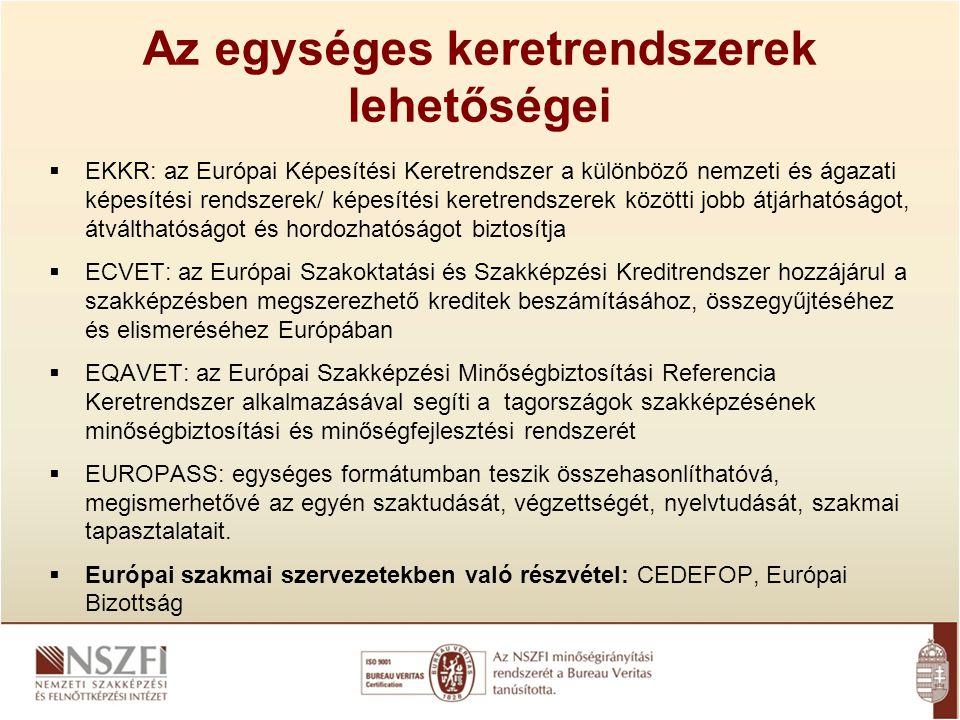Az egységes keretrendszerek lehetőségei  EKKR: az Európai Képesítési Keretrendszer a különböző nemzeti és ágazati képesítési rendszerek/ képesítési k