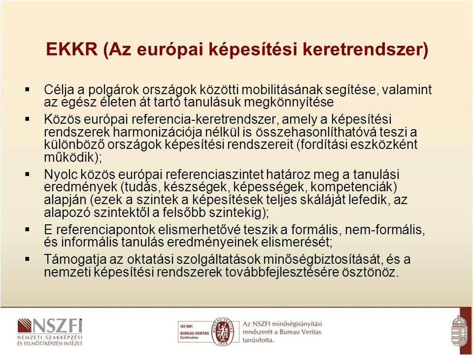 EKKR (Az európai képesítési keretrendszer)  Célja a polgárok országok közötti mobilitásának segítése, valamint az egész életen át tartó tanulásuk meg