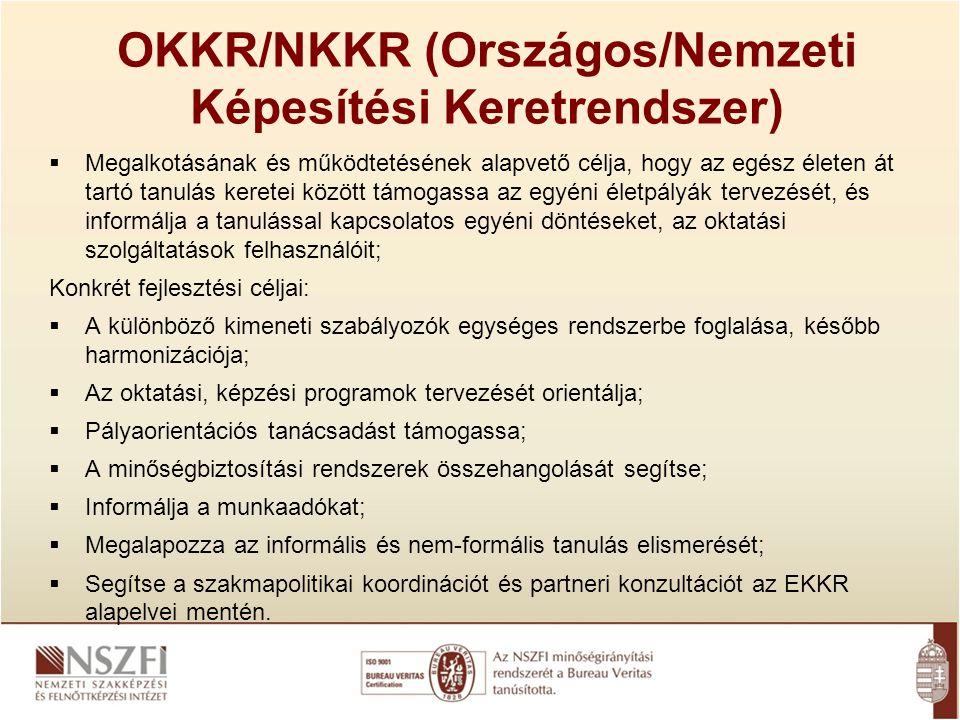 OKKR/NKKR (Országos/Nemzeti Képesítési Keretrendszer)  Megalkotásának és működtetésének alapvető célja, hogy az egész életen át tartó tanulás keretei