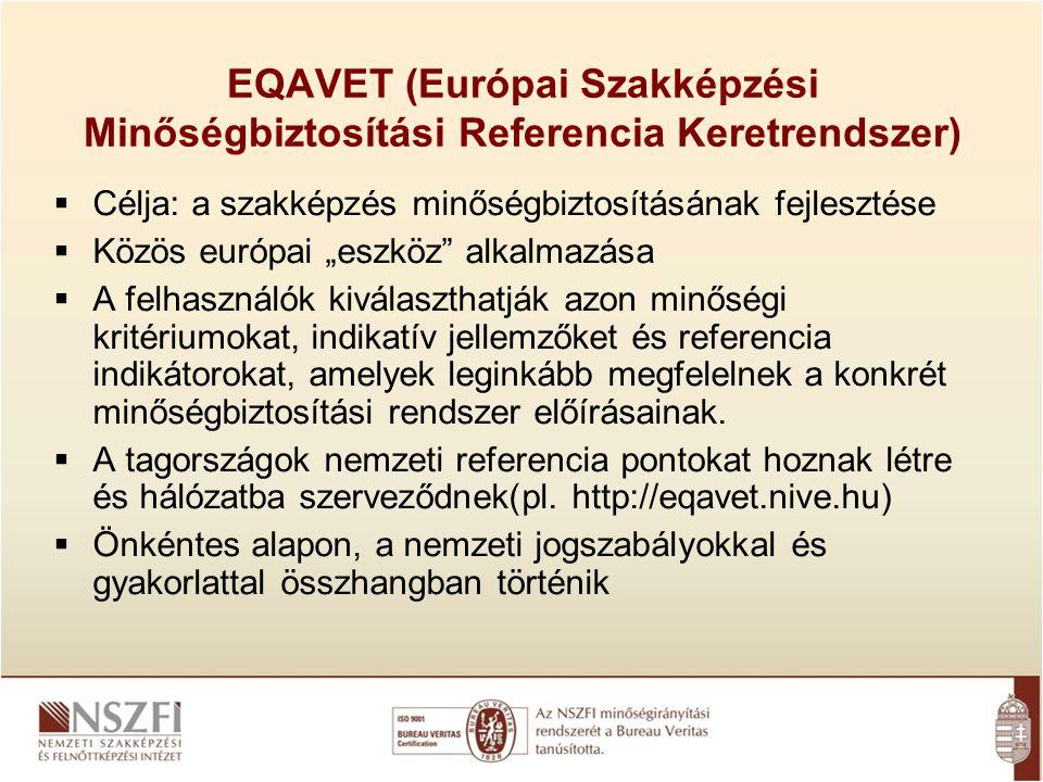 """EQAVET (Európai Szakképzési Minőségbiztosítási Referencia Keretrendszer)  Célja: a szakképzés minőségbiztosításának fejlesztése  Közös európai """"eszk"""