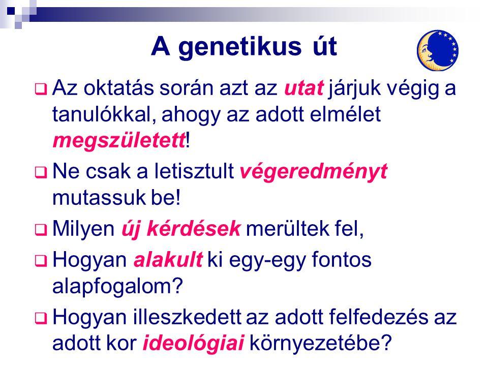 A genetikus út  Az oktatás során azt az utat járjuk végig a tanulókkal, ahogy az adott elmélet megszületett!  Ne csak a letisztult végeredményt muta