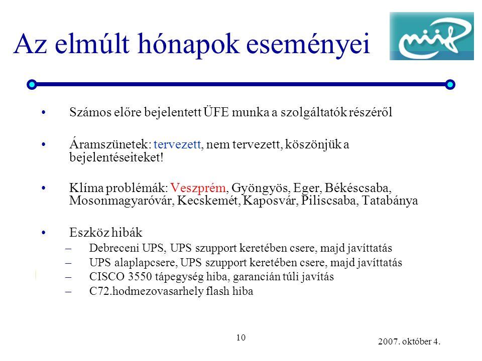 10 2007. október 4. Az elmúlt hónapok eseményei Számos előre bejelentett ÜFE munka a szolgáltatók részéről Áramszünetek: tervezett, nem tervezett, kös