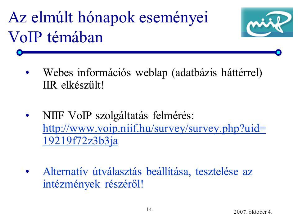 14 2007. október 4. Az elmúlt hónapok eseményei VoIP témában Webes információs weblap (adatbázis háttérrel) IIR elkészült! NIIF VoIP szolgáltatás felm