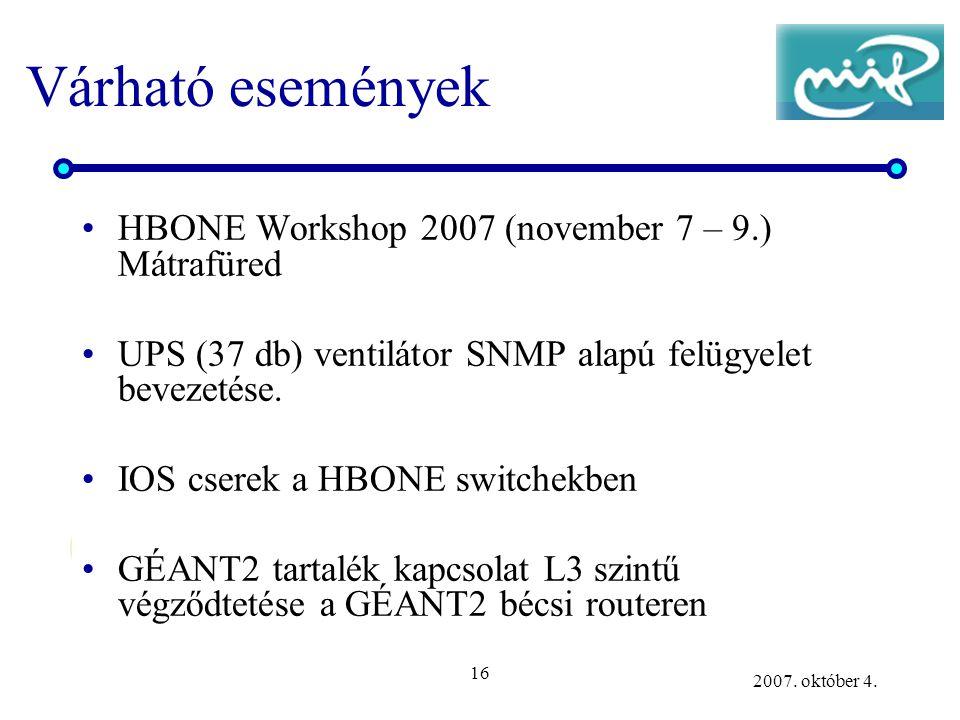 16 2007. október 4. Várható események HBONE Workshop 2007 (november 7 – 9.) Mátrafüred UPS (37 db) ventilátor SNMP alapú felügyelet bevezetése. IOS cs