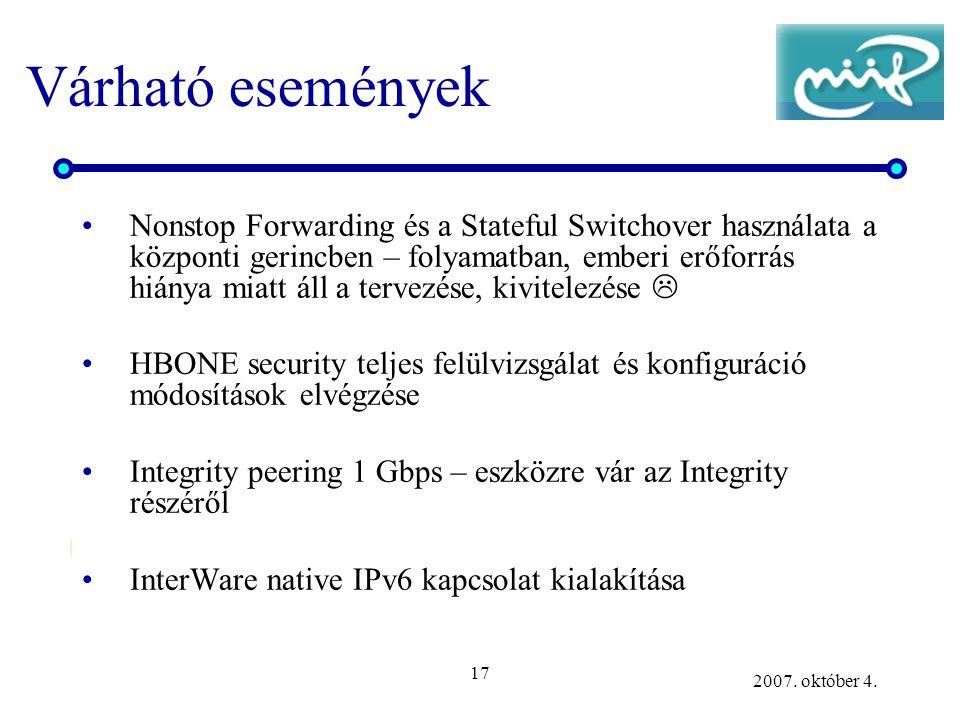 17 2007. október 4. Várható események Nonstop Forwarding és a Stateful Switchover használata a központi gerincben – folyamatban, emberi erőforrás hián
