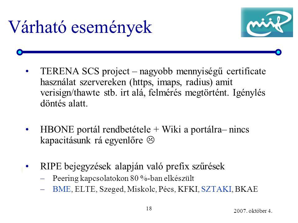 18 2007. október 4. Várható események TERENA SCS project – nagyobb mennyiségű certificate használat szervereken (https, imaps, radius) amit verisign/t