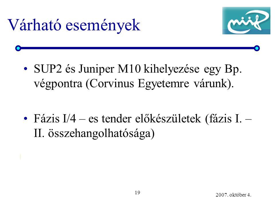 19 2007. október 4. Várható események SUP2 és Juniper M10 kihelyezése egy Bp. végpontra (Corvinus Egyetemre várunk). Fázis I/4 – es tender előkészület