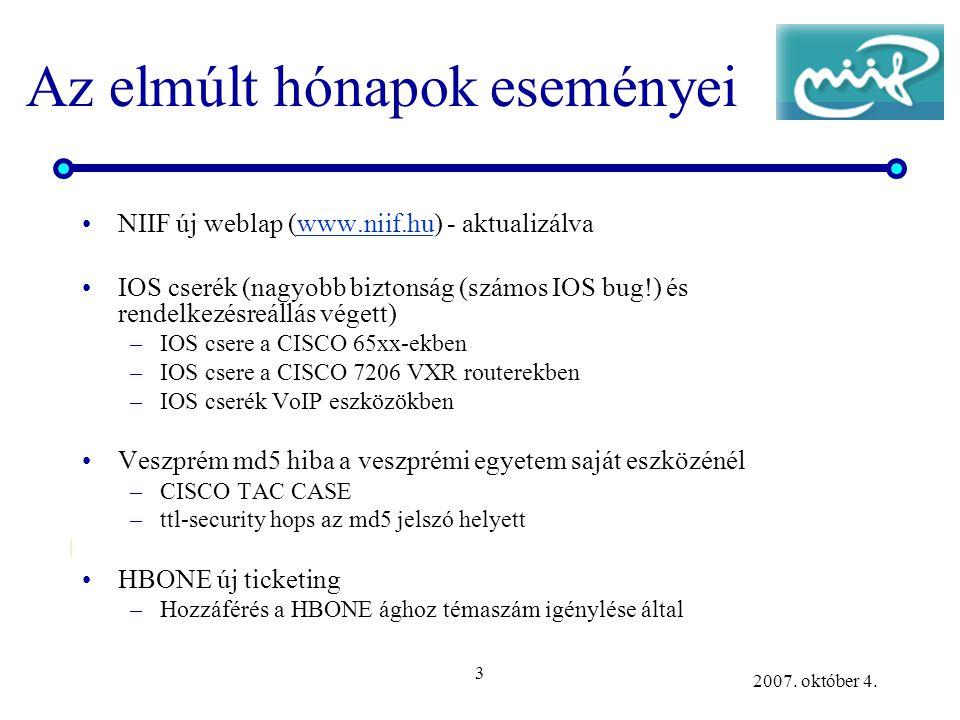 3 2007. október 4. Az elmúlt hónapok eseményei NIIF új weblap (www.niif.hu) - aktualizálvawww.niif.hu IOS cserék (nagyobb biztonság (számos IOS bug!)