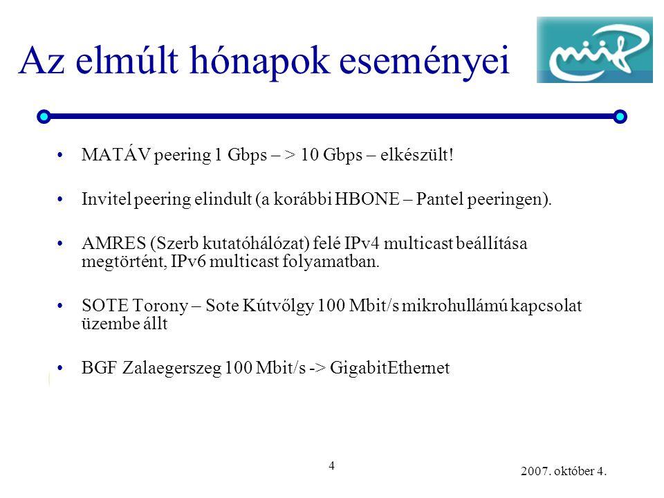 4 2007. október 4. Az elmúlt hónapok eseményei MATÁV peering 1 Gbps – > 10 Gbps – elkészült! Invitel peering elindult (a korábbi HBONE – Pantel peerin