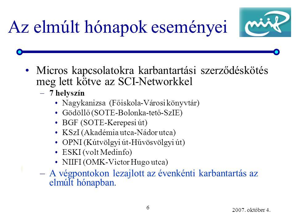 6 2007. október 4. Az elmúlt hónapok eseményei Micros kapcsolatokra karbantartási szerződéskötés meg lett kötve az SCI-Networkkel –7 helyszín Nagykani