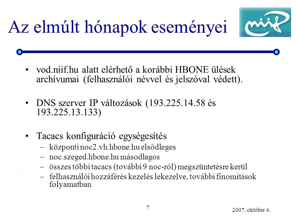 7 2007. október 4. Az elmúlt hónapok eseményei vod.niif.hu alatt elérhető a korábbi HBONE ülések archívumai (felhasználói névvel és jelszóval védett).