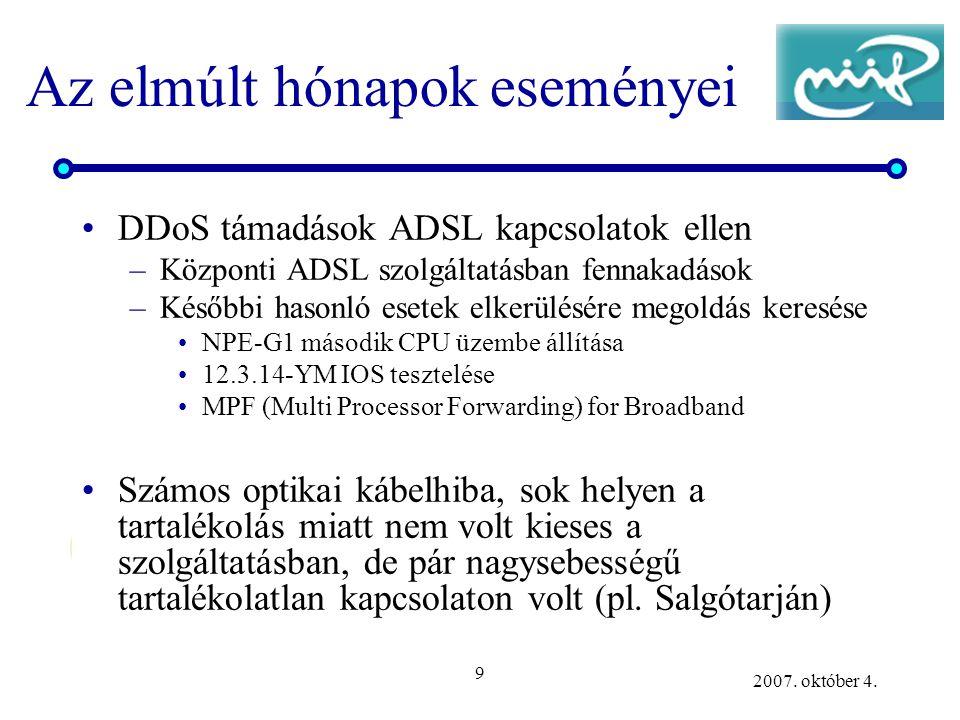 9 2007. október 4. Az elmúlt hónapok eseményei DDoS támadások ADSL kapcsolatok ellen –Központi ADSL szolgáltatásban fennakadások –Későbbi hasonló eset