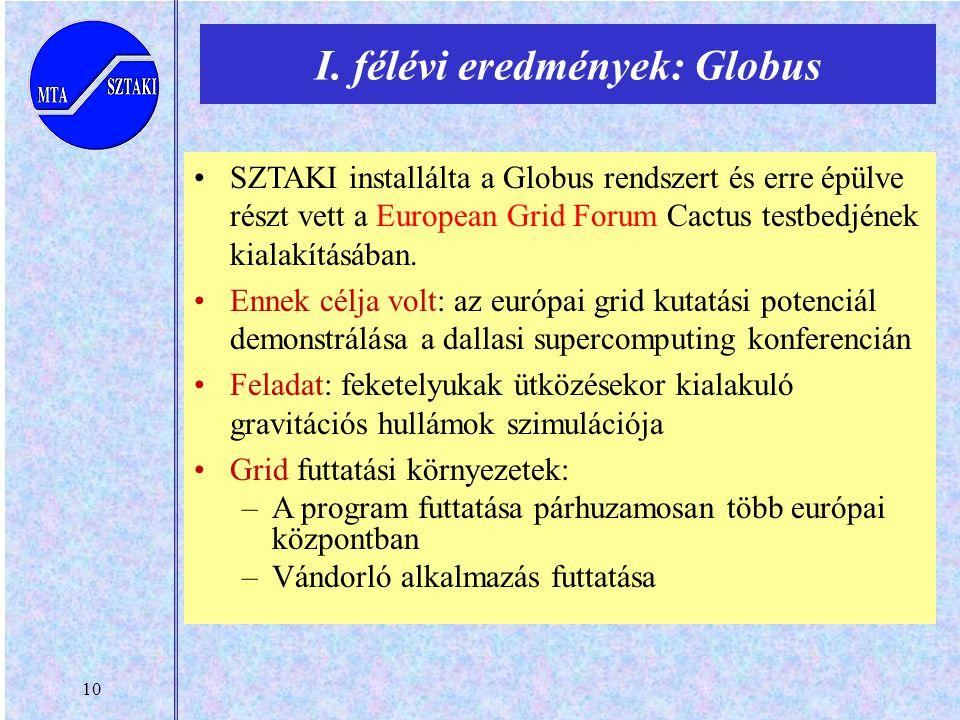 10 SZTAKI installálta a Globus rendszert és erre épülve részt vett a European Grid Forum Cactus testbedjének kialakításában. Ennek célja volt: az euró