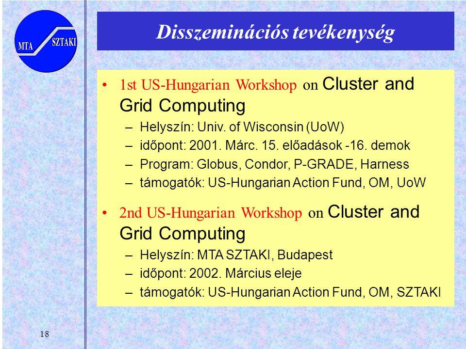 18 Disszeminációs tevékenység 1st US-Hungarian Workshop on Cluster and Grid Computing –Helyszín: Univ. of Wisconsin (UoW) –időpont: 2001. Márc. 15. el