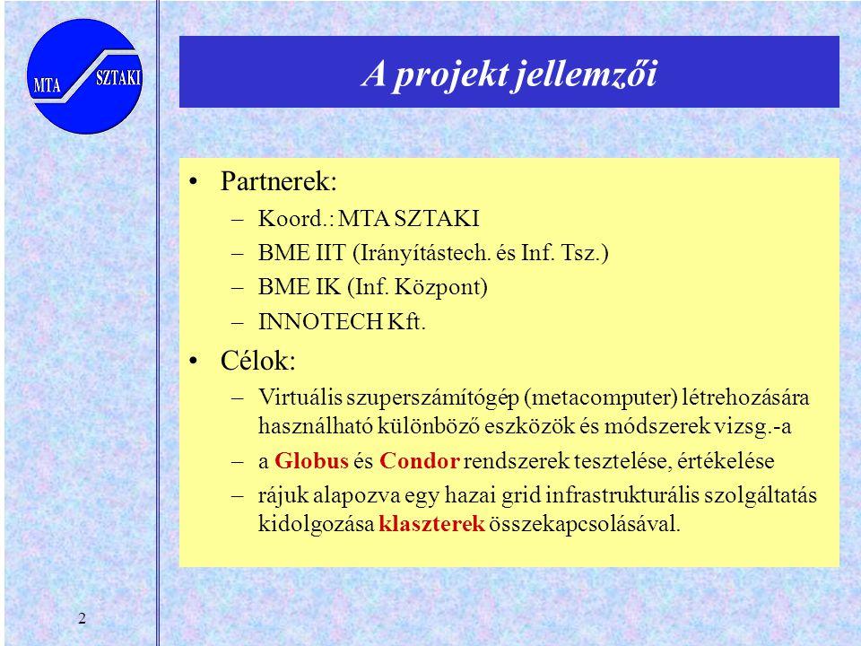 2 Partnerek: –Koord.: MTA SZTAKI –BME IIT (Irányítástech. és Inf. Tsz.) –BME IK (Inf. Központ) –INNOTECH Kft. Célok: –Virtuális szuperszámítógép (meta