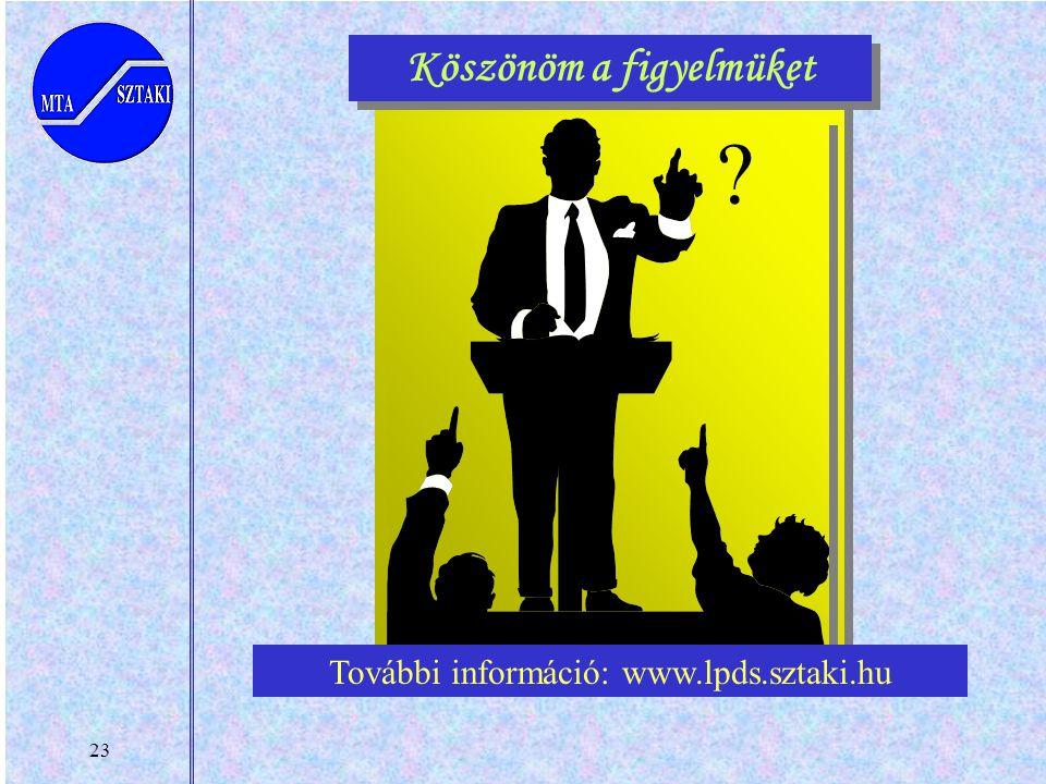 23 Köszönöm a figyelmüket ? További információ: www.lpds.sztaki.hu