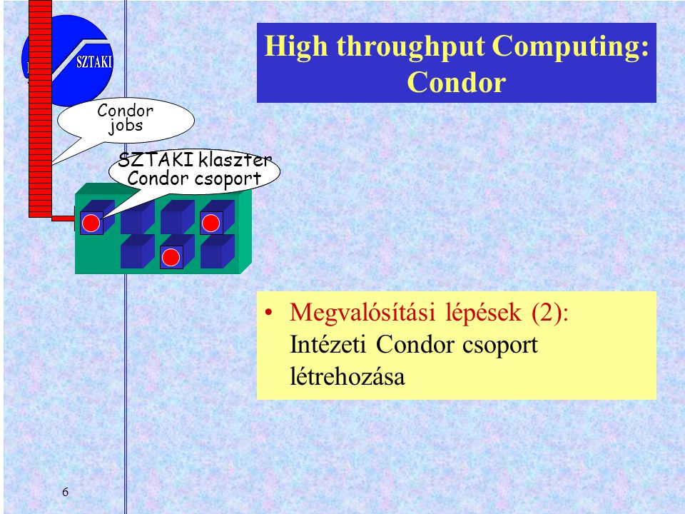 6 your workstation personal Condor jobs SZTAKI klaszter Condor csoport High throughput Computing: Condor Megvalósítási lépések (2): Intézeti Condor csoport létrehozása