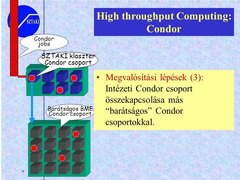 7 your workstation Barátságos BME Condor csoport personal Condor jobs SZTAKI klaszter Condor csoport High throughput Computing: Condor Megvalósítási l
