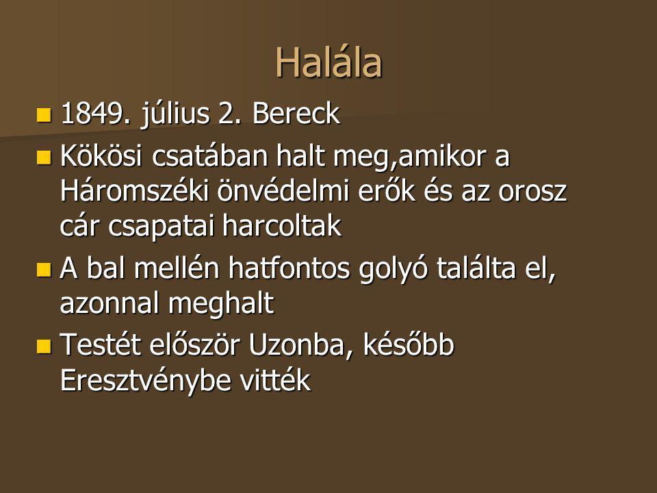 Halála 1849. július 2. Bereck 1849. július 2. Bereck Kökösi csatában halt meg,amikor a Háromszéki önvédelmi erők és az orosz cár csapatai harcoltak Kö