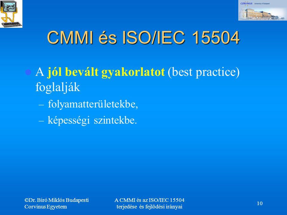©Dr. Biró Miklós Budapesti Corvinus Egyetem A CMMI és az ISO/IEC 15504 terjedése és fejlôdési irányai 10 CMMI és ISO/IEC 15504 A jól bevált gyakorlato