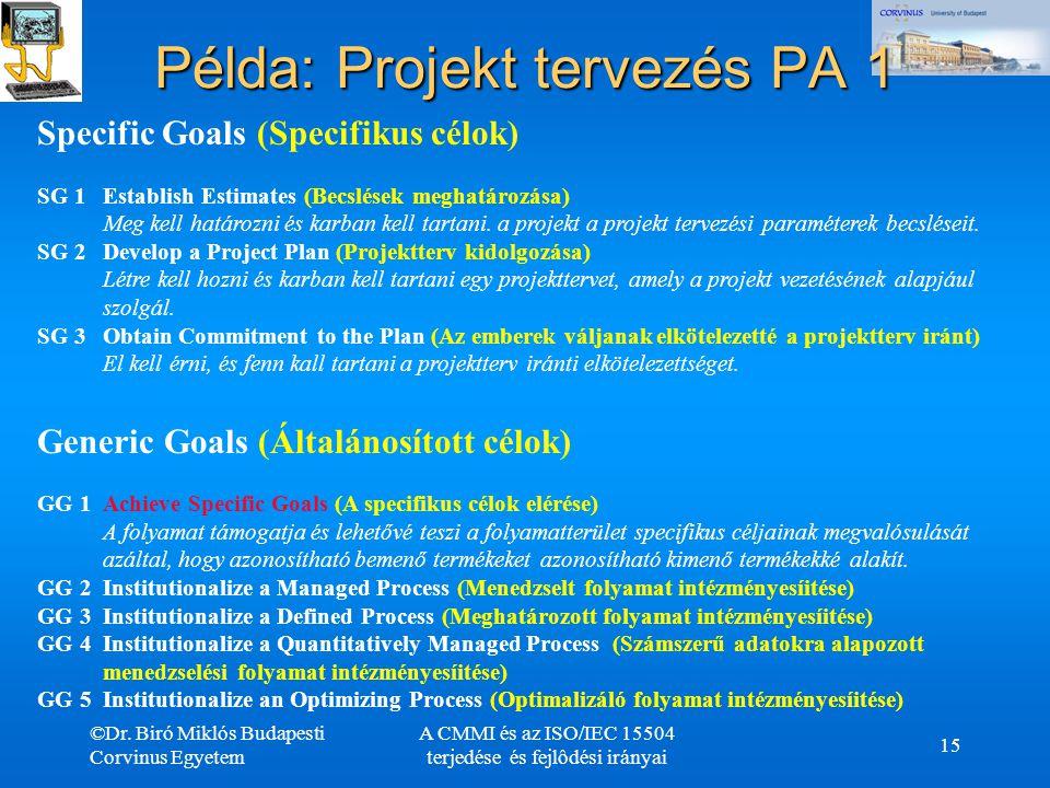 ©Dr. Biró Miklós Budapesti Corvinus Egyetem A CMMI és az ISO/IEC 15504 terjedése és fejlôdési irányai 15 Példa: Projekt tervezés PA 1 Specific Goals (