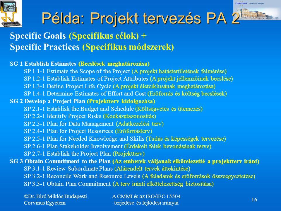 ©Dr. Biró Miklós Budapesti Corvinus Egyetem A CMMI és az ISO/IEC 15504 terjedése és fejlôdési irányai 16 Példa: Projekt tervezés PA 2 Specific Goals (