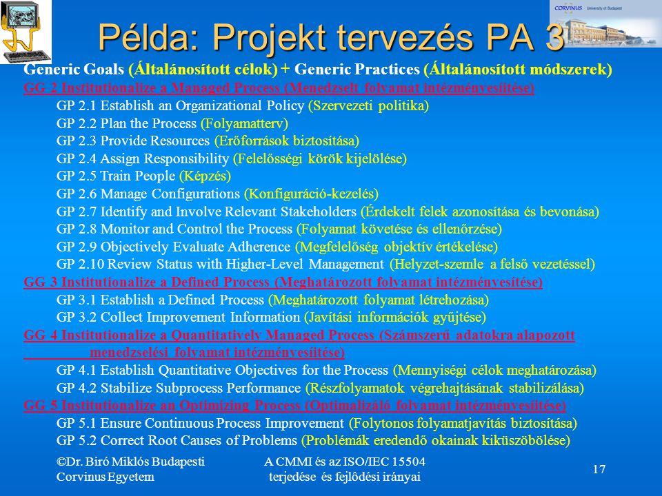 ©Dr. Biró Miklós Budapesti Corvinus Egyetem A CMMI és az ISO/IEC 15504 terjedése és fejlôdési irányai 17 Példa: Projekt tervezés PA 3 Generic Goals (Á