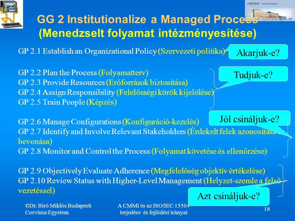 ©Dr. Biró Miklós Budapesti Corvinus Egyetem A CMMI és az ISO/IEC 15504 terjedése és fejlôdési irányai 18 GG 2 Institutionalize a Managed Process (Mene