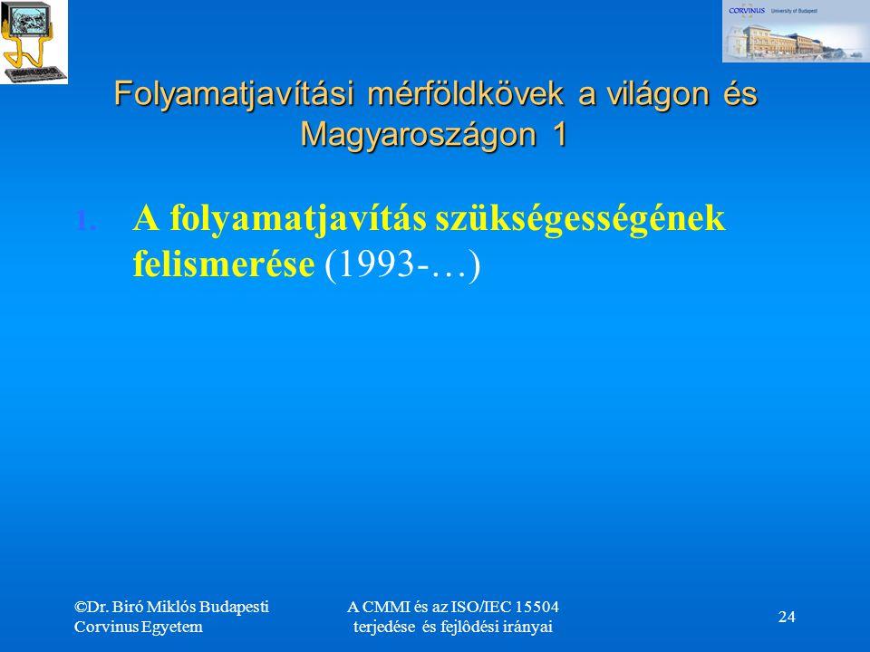 ©Dr. Biró Miklós Budapesti Corvinus Egyetem A CMMI és az ISO/IEC 15504 terjedése és fejlôdési irányai 24 Folyamatjavítási mérföldkövek a világon és Ma