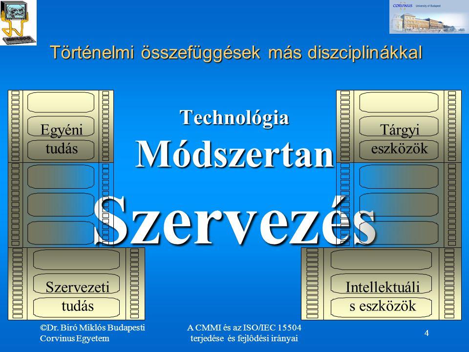 ©Dr. Biró Miklós Budapesti Corvinus Egyetem A CMMI és az ISO/IEC 15504 terjedése és fejlôdési irányai 4 Történelmi összefüggések más diszciplinákkal T