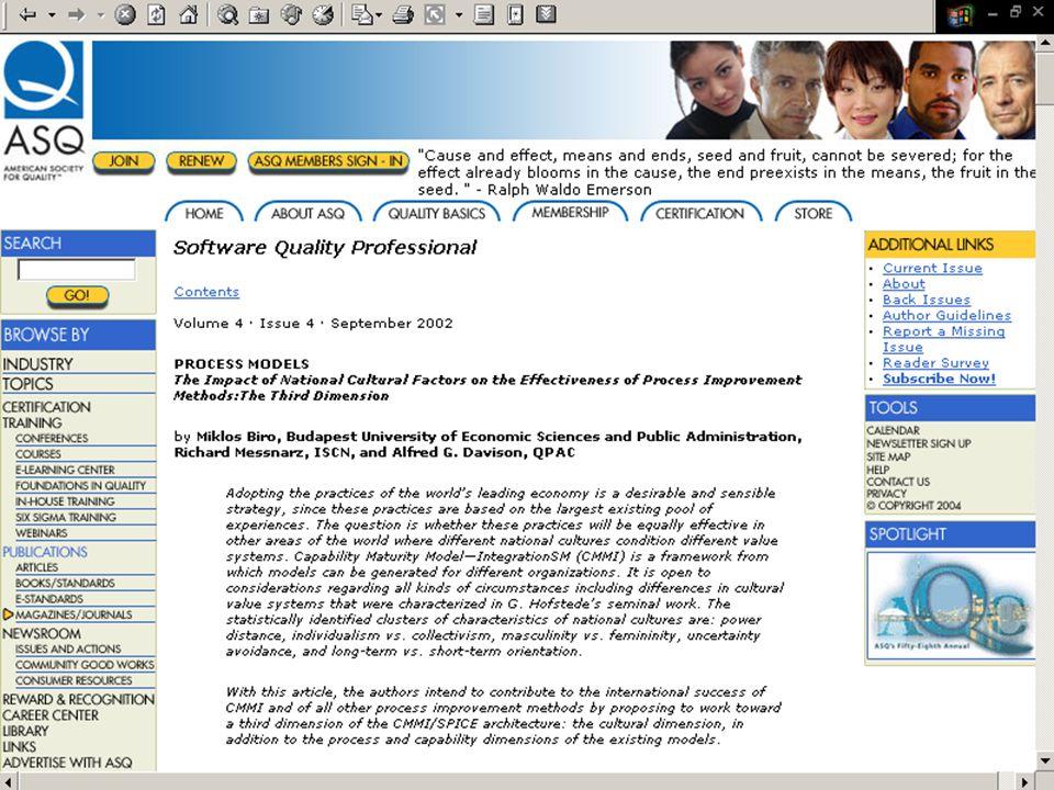 ©Dr. Biró Miklós Budapesti Corvinus Egyetem A CMMI és az ISO/IEC 15504 terjedése és fejlôdési irányai 41 American Society for Quality: Nemzeti kultúrá