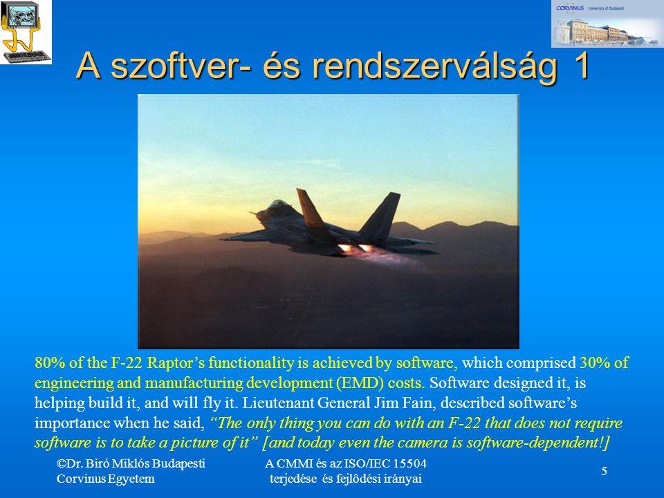 ©Dr. Biró Miklós Budapesti Corvinus Egyetem A CMMI és az ISO/IEC 15504 terjedése és fejlôdési irányai 5 80% of the F-22 Raptor's functionality is achi