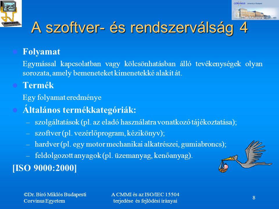 ©Dr. Biró Miklós Budapesti Corvinus Egyetem A CMMI és az ISO/IEC 15504 terjedése és fejlôdési irányai 8 A szoftver- és rendszerválság 4 Folyamat Egymá